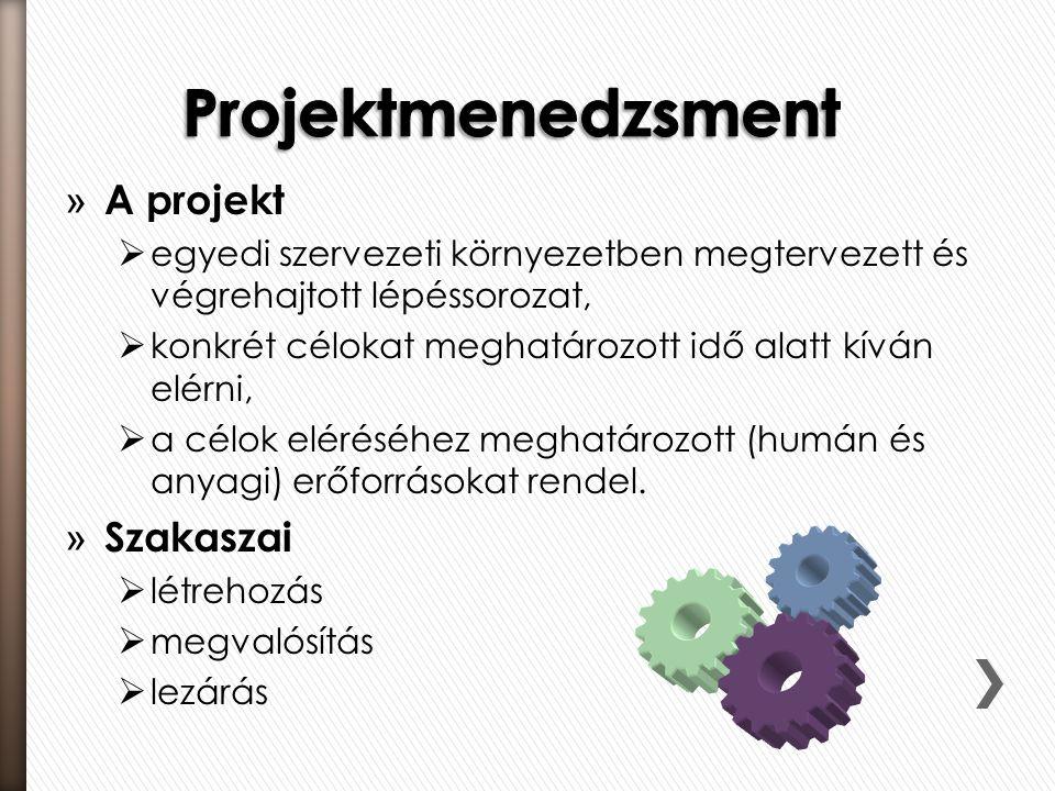» A projekt  egyedi szervezeti környezetben megtervezett és végrehajtott lépéssorozat,  konkrét célokat meghatározott idő alatt kíván elérni,  a cé