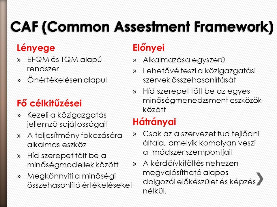Lényege » EFQM és TQM alapú rendszer » Önértékelésen alapul Fő célkitűzései » Kezeli a közigazgatás jellemző sajátosságait » A teljesítmény fokozására