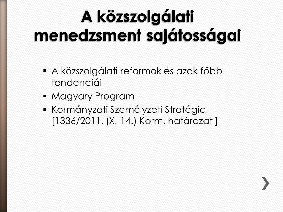  A közszolgálati reformok és azok főbb tendenciái  Magyary Program  Kormányzati Személyzeti Stratégia [1336/2011. (X. 14.) Korm. határozat ]