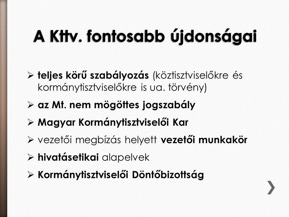  teljes körű szabályozás (köztisztviselőkre és kormánytisztviselőkre is ua. törvény)  az Mt. nem mögöttes jogszabály  Magyar Kormánytisztviselői Ka