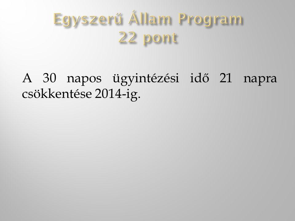 A 30 napos ügyintézési idő 21 napra csökkentése 2014-ig.