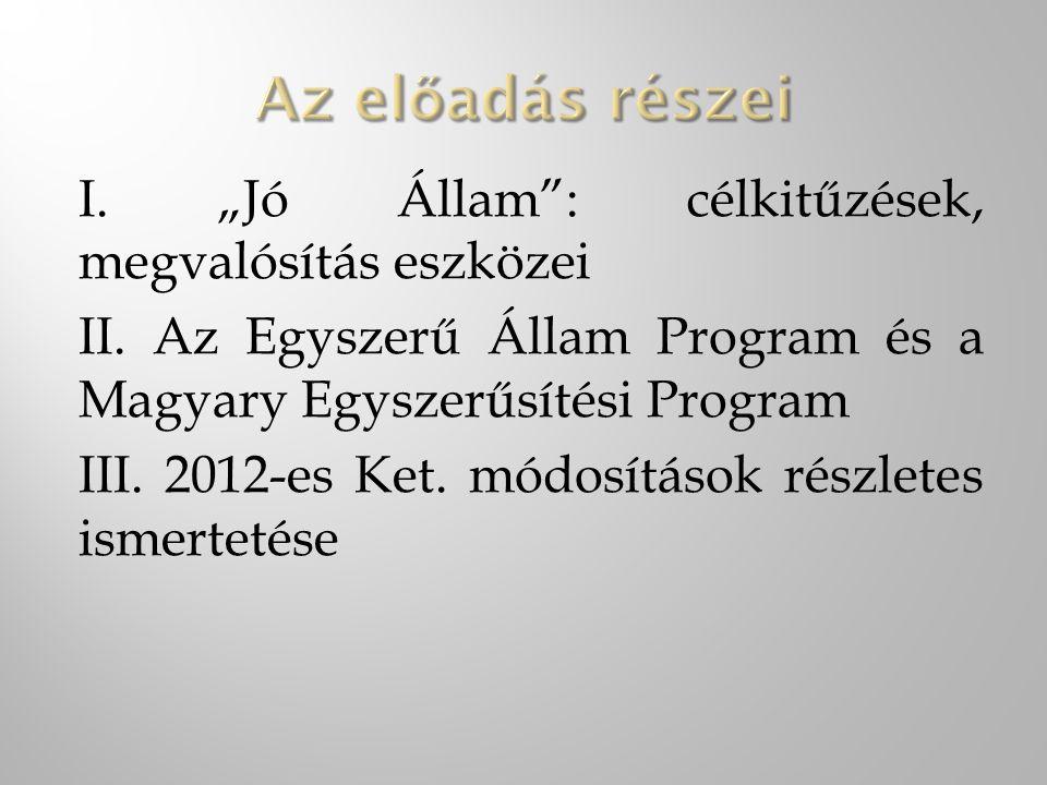 """I. """"Jó Állam"""": célkitűzések, megvalósítás eszközei II. Az Egyszerű Állam Program és a Magyary Egyszerűsítési Program III. 2012-es Ket. módosítások rés"""