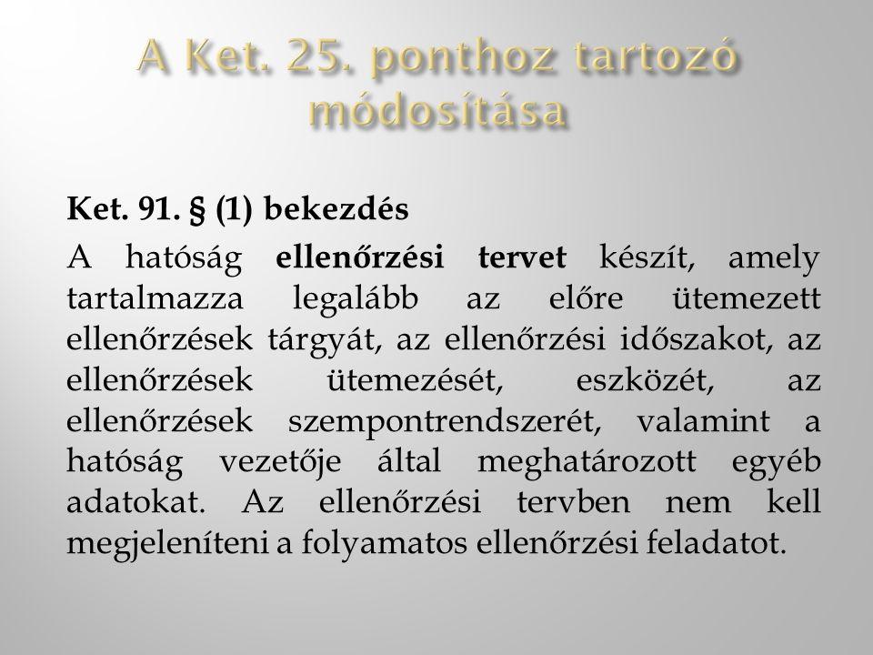 Ket. 91. § (1) bekezdés A hatóság ellenőrzési tervet készít, amely tartalmazza legalább az előre ütemezett ellenőrzések tárgyát, az ellenőrzési idősza