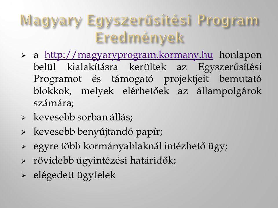  a http://magyaryprogram.kormany.hu honlapon belül kialakításra kerültek az Egyszerűsítési Programot és támogató projektjeit bemutató blokkok, melyek