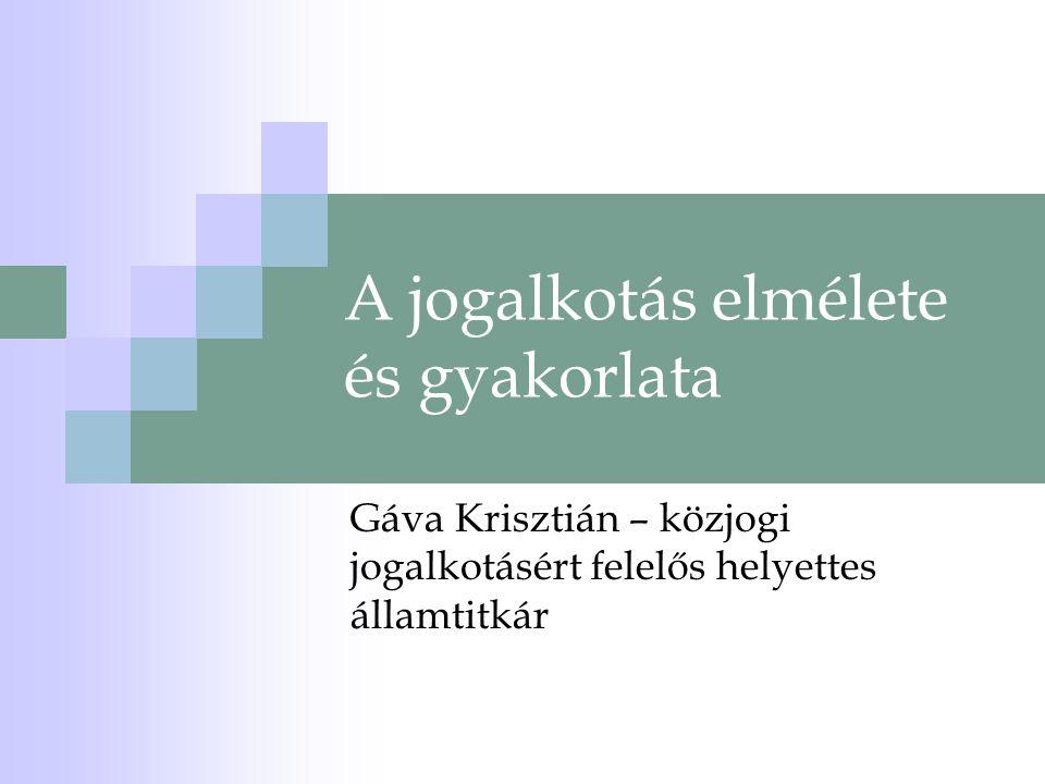 A jogalkotás elmélete és gyakorlata Gáva Krisztián – közjogi jogalkotásért felelős helyettes államtitkár