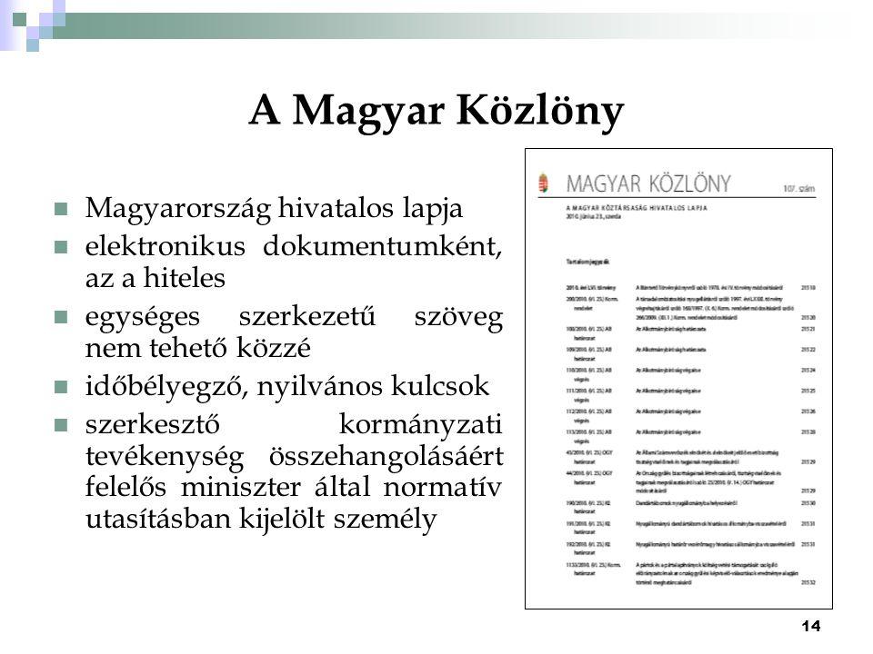14 A Magyar Közlöny Magyarország hivatalos lapja elektronikus dokumentumként, az a hiteles egységes szerkezetű szöveg nem tehető közzé időbélyegző, ny