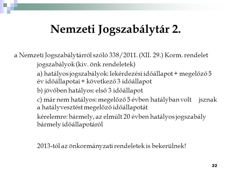 22 Nemzeti Jogszabálytár 2. a Nemzeti Jogszabálytárról szóló 338/2011. (XII. 29.) Korm. rendelet jogszabályok (kiv. önk rendeletek) a) hatályos jogsza