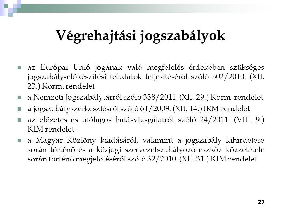 23 Végrehajtási jogszabályok az Európai Unió jogának való megfelelés érdekében szükséges jogszabály-előkészítési feladatok teljesítéséről szóló 302/20