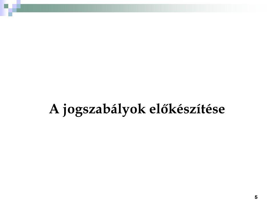6 Jogszabály szakmai tartalmának és jogrendszerbe illeszkedésének biztosítása előkészítő feladata : szakmai tartalom kialakítása, figyelembe véve a 2.