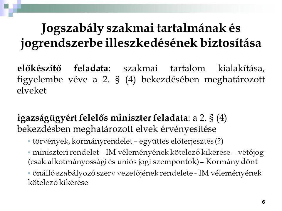 17 Jogszabályok megjelölése a kihirdetés során Törvény Kihirdetésének éve, sorszáma, törvény elnevezés, törvény címe Más jogszabály Jogszabály megalkotójának megjelölése, sorszáma, kihirdetésének napja, jogszabály elnevezése és címe Részletszabályok: a Magyar Közlöny kiadásáról, valamint a jogszabály kihirdetése során történő és a közjogi szervezetszabályozó eszköz közzététele során történő megjelöléséről szóló 32/2010.