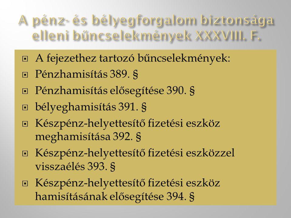  A fejezethez tartozó bűncselekmények:  Pénzhamisítás 389.
