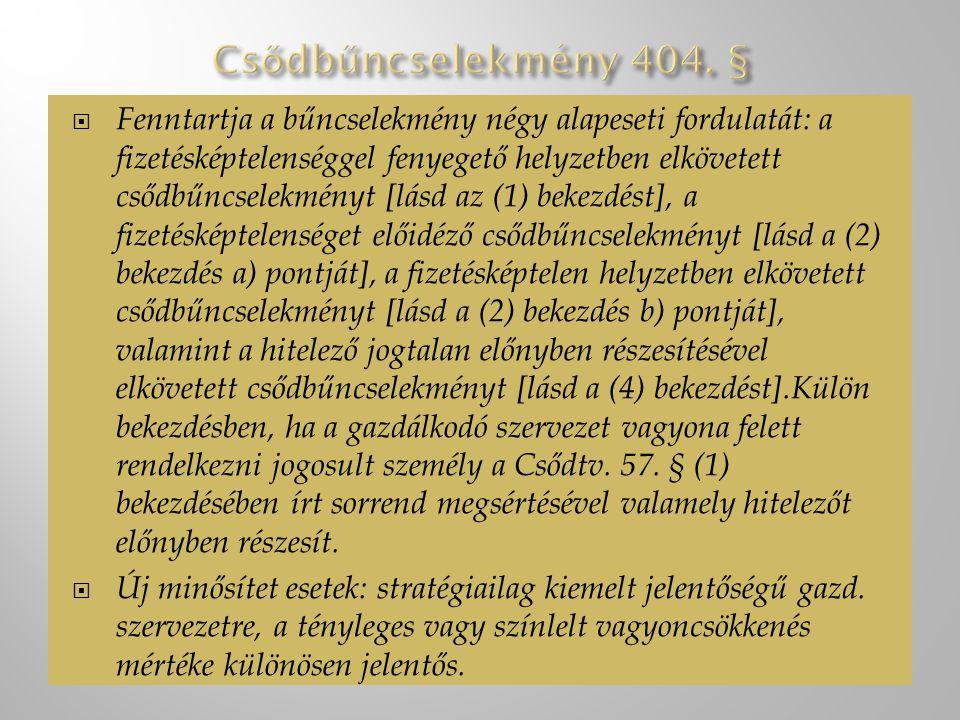  Fenntartja a bűncselekmény négy alapeseti fordulatát: a fizetésképtelenséggel fenyegető helyzetben elkövetett csődbűncselekményt [lásd az (1) bekezdést], a fizetésképtelenséget előidéző csődbűncselekményt [lásd a (2) bekezdés a) pontját], a fizetésképtelen helyzetben elkövetett csődbűncselekményt [lásd a (2) bekezdés b) pontját], valamint a hitelező jogtalan előnyben részesítésével elkövetett csődbűncselekményt [lásd a (4) bekezdést].Külön bekezdésben, ha a gazdálkodó szervezet vagyona felett rendelkezni jogosult személy a Csődtv.