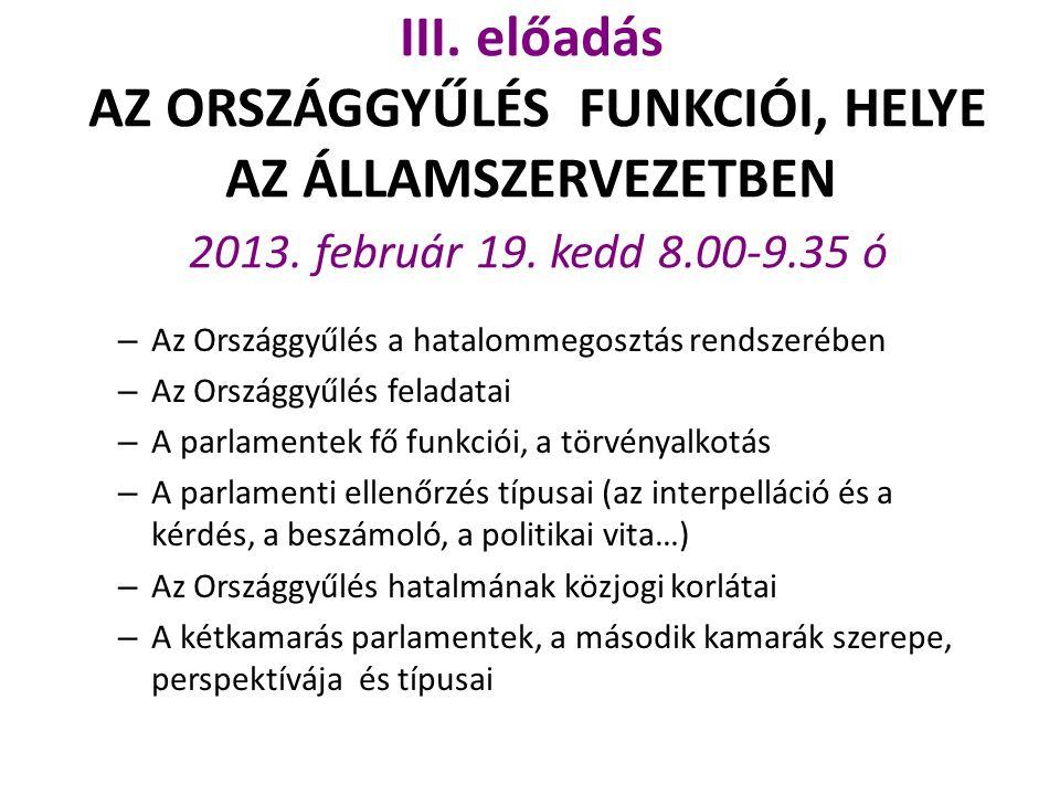 III. előadás AZ ORSZÁGGYŰLÉS FUNKCIÓI, HELYE AZ ÁLLAMSZERVEZETBEN 2013. február 19. kedd 8.00-9.35 ó – Az Országgyűlés a hatalommegosztás rendszerében