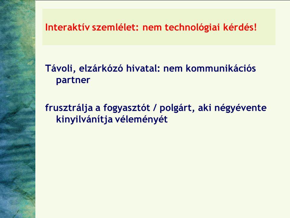 Interaktív szemlélet: nem technológiai kérdés! Távoli, elzárkózó hivatal: nem kommunikációs partner frusztrálja a fogyasztót / polgárt, aki négyévente