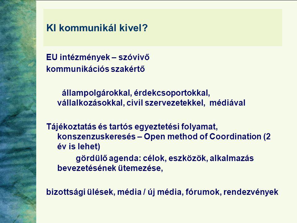 KI kommunikál kivel? EU intézmények – szóvivő kommunikációs szakértő állampolgárokkal, érdekcsoportokkal, vállalkozásokkal, civil szervezetekkel, médi