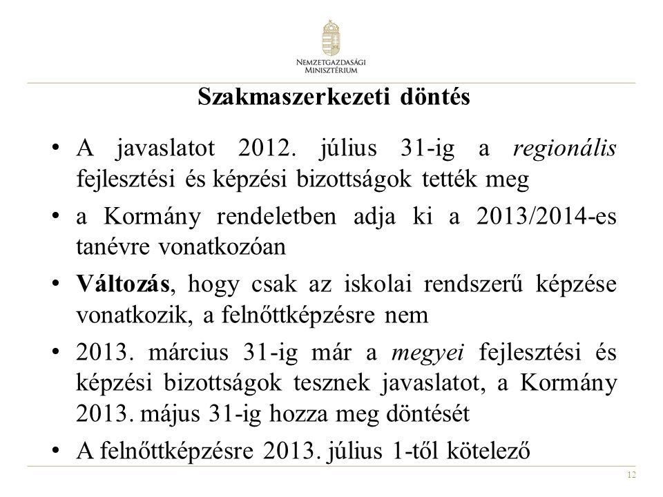 12 Szakmaszerkezeti döntés A javaslatot 2012. július 31-ig a regionális fejlesztési és képzési bizottságok tették meg a Kormány rendeletben adja ki a