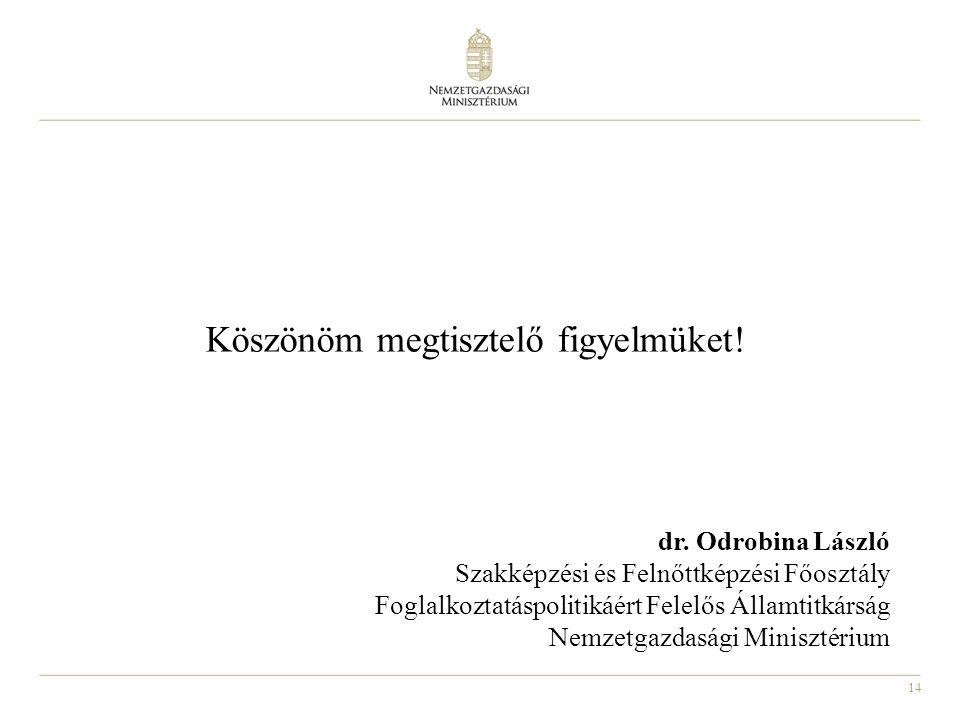 14 Köszönöm megtisztelő figyelmüket! dr. Odrobina László Szakképzési és Felnőttképzési Főosztály Foglalkoztatáspolitikáért Felelős Államtitkárság Nemz