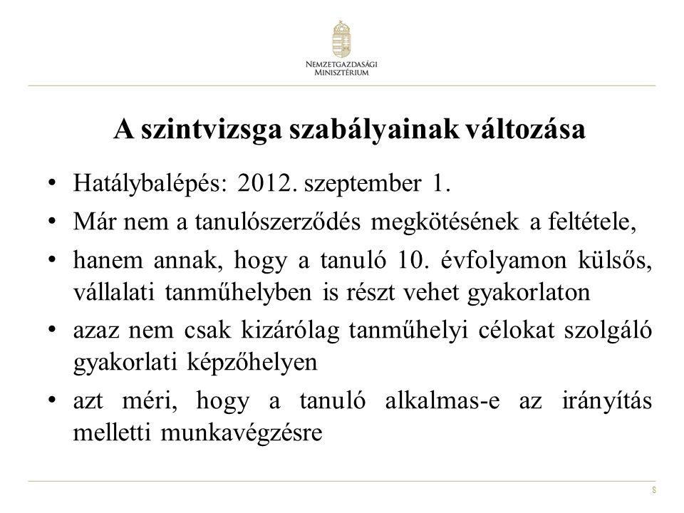 8 A szintvizsga szabályainak változása Hatálybalépés: 2012. szeptember 1. Már nem a tanulószerződés megkötésének a feltétele, hanem annak, hogy a tanu