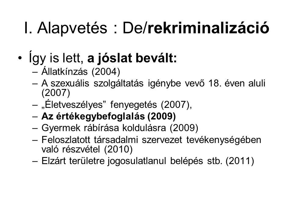 """I. Alapvetés : De/rekriminalizáció Így is lett, a jóslat bevált: –Állatkínzás (2004) –A szexuális szolgáltatás igénybe vevő 18. éven aluli (2007) –""""Él"""