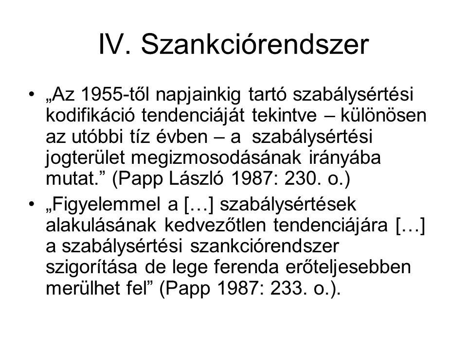 """IV. Szankciórendszer """"Az 1955-től napjainkig tartó szabálysértési kodifikáció tendenciáját tekintve – különösen az utóbbi tíz évben – a szabálysértési"""