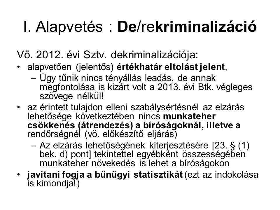 I.Alapvetés : De/rekriminalizáció Vö. 2012. évi Sztv.