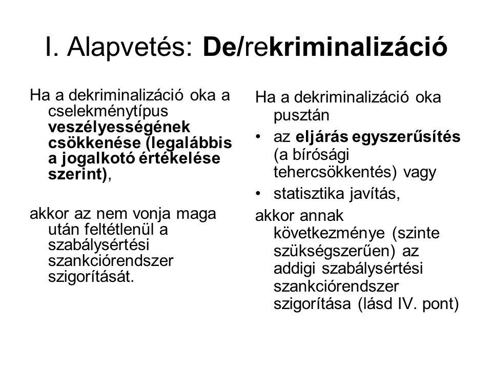 I. Alapvetés: De/rekriminalizáció Ha a dekriminalizáció oka a cselekménytípus veszélyességének csökkenése (legalábbis a jogalkotó értékelése szerint),