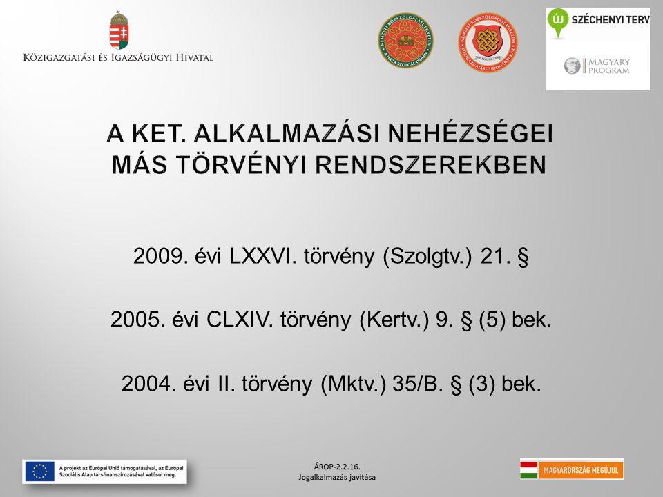2009. évi LXXVI. törvény (Szolgtv.) 21. § 2005. évi CLXIV. törvény (Kertv.) 9. § (5) bek. 2004. évi II. törvény (Mktv.) 35/B. § (3) bek.