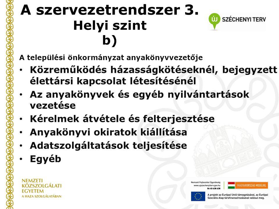A szervezetrendszer 3. Helyi szint b) A települési önkormányzat anyakönyvvezetője Közreműködés házasságkötéseknél, bejegyzett élettársi kapcsolat léte