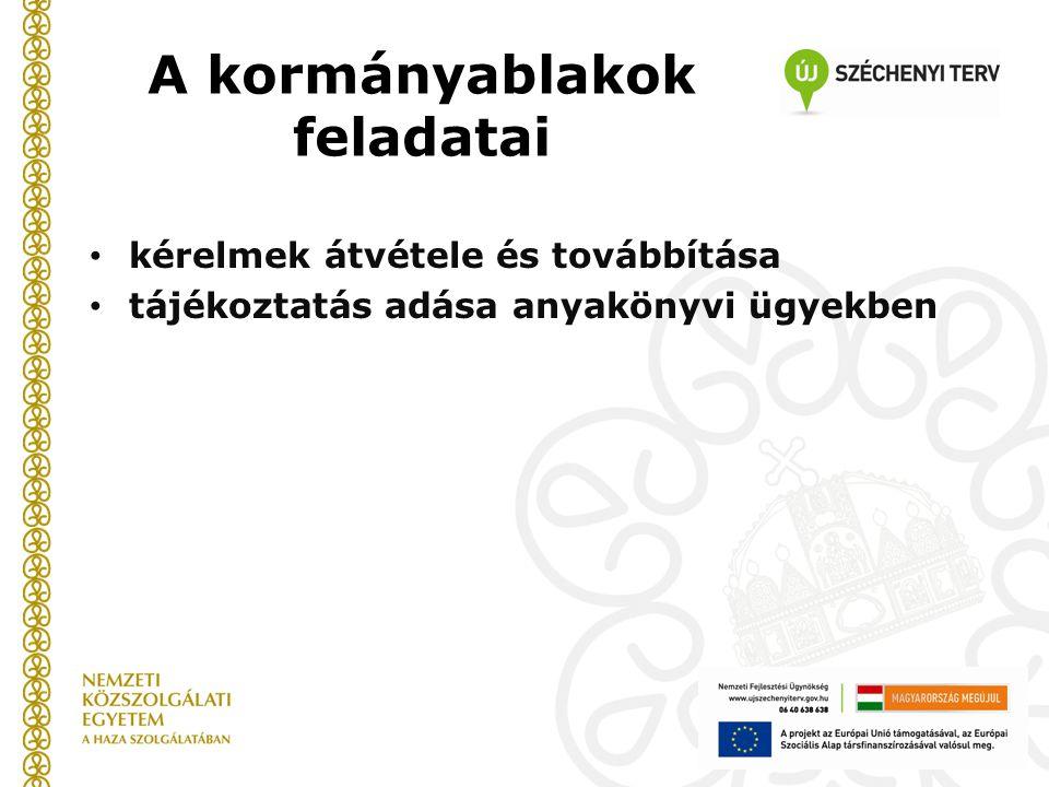 A kormányablakok feladatai kérelmek átvétele és továbbítása tájékoztatás adása anyakönyvi ügyekben
