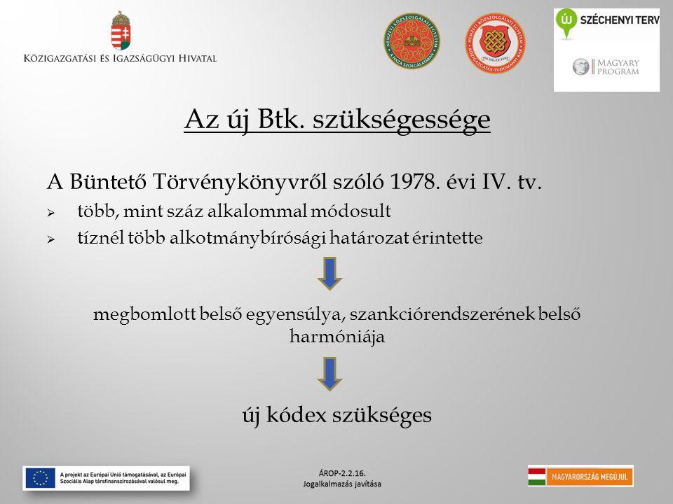 Az új Btk. szükségessége A Büntető Törvénykönyvről szóló 1978. évi IV. tv.  több, mint száz alkalommal módosult  tíznél több alkotmánybírósági határ