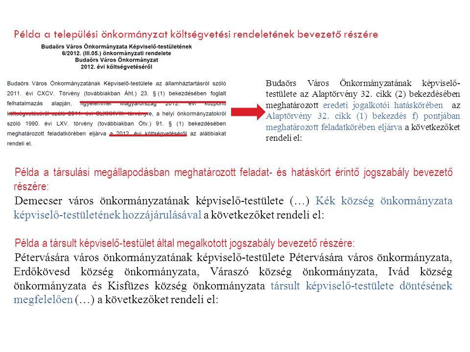 Budaörs Város Önkormányzatának képviselő- testülete az Alaptörvény 32. cikk (2) bekezdésében meghatározott eredeti jogalkotói hatáskörében az Alaptörv