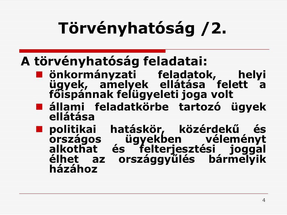 4 Törvényhatóság /2. A törvényhatóság feladatai: önkormányzati feladatok, helyi ügyek, amelyek ellátása felett a főispánnak felügyeleti joga volt álla