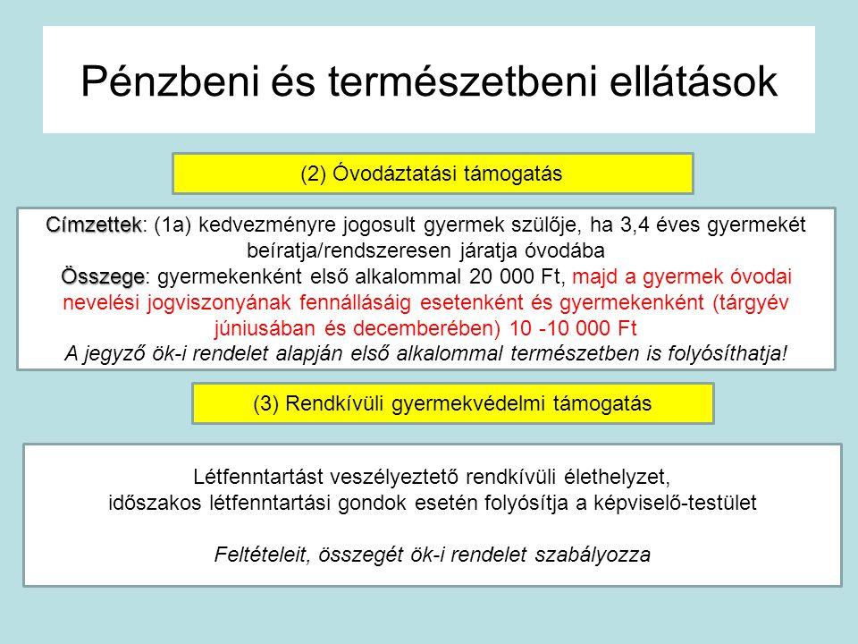 Pénzbeni és természetbeni ellátások (4) Gyermektartásdíj megelőlegezése Feltétele Feltétele: (a) a jogerősen megítélt tartásdíj behajtása átmenetileg lehetetlen (b) Gyermek tartását a gondozó nem tudja biztosítani (praktikusan: a gondozó család havi átlagjövedelme 2* önymin./fő) Folyósítja Folyósítja: a járási hivatal a központi költségvetés terhére Megtérítendő/behajtandó Megtérítendő/behajtandó: a tartásra kötelezettől, a Ptk.