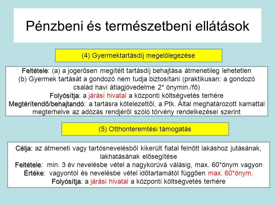 Pénzbeni és természetbeni ellátások (4) Gyermektartásdíj megelőlegezése Feltétele Feltétele: (a) a jogerősen megítélt tartásdíj behajtása átmenetileg