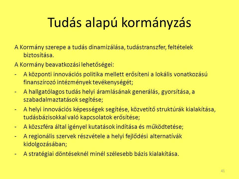 Tudás alapú kormányzás A Kormány szerepe a tudás dinamizálása, tudástranszfer, feltételek biztosítása. A Kormány beavatkozási lehetőségei: -A központi