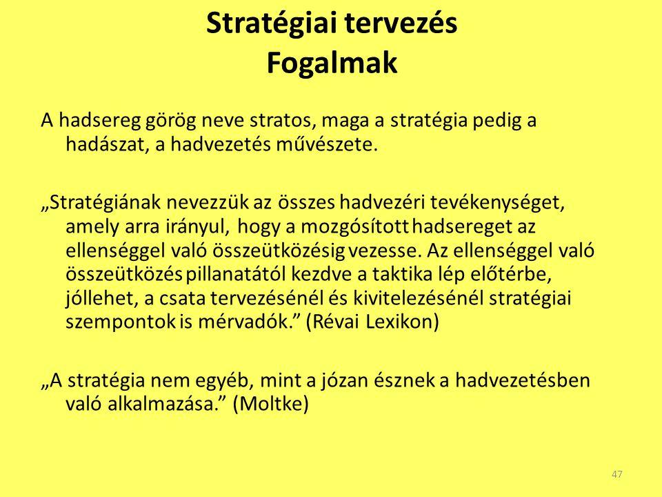 """Stratégiai tervezés Fogalmak A hadsereg görög neve stratos, maga a stratégia pedig a hadászat, a hadvezetés művészete. """"Stratégiának nevezzük az össze"""