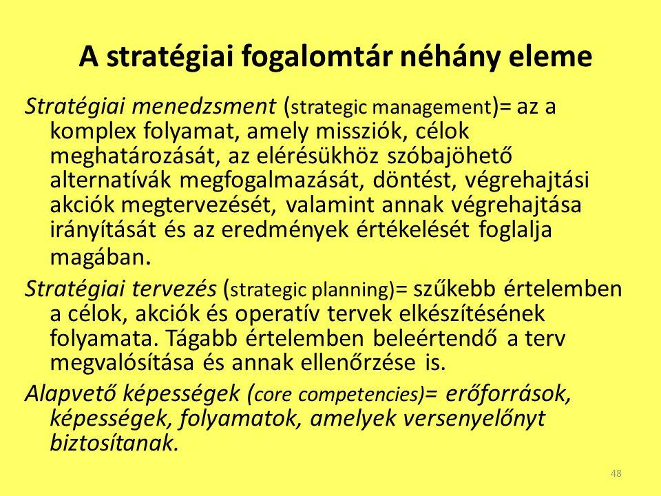 A stratégiai fogalomtár néhány eleme Stratégiai menedzsment ( strategic management )= az a komplex folyamat, amely missziók, célok meghatározását, az