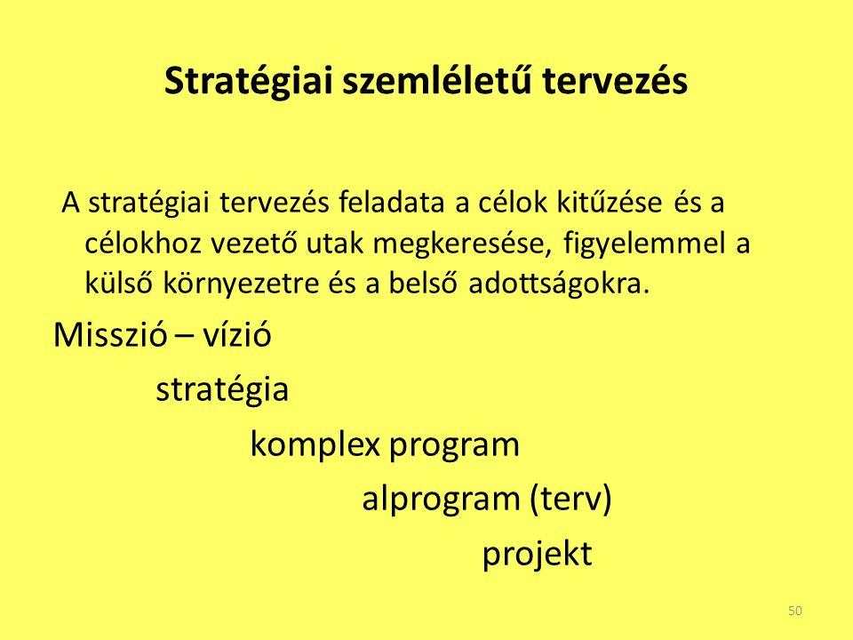Stratégiai szemléletű tervezés A stratégiai tervezés feladata a célok kitűzése és a célokhoz vezető utak megkeresése, figyelemmel a külső környezetre