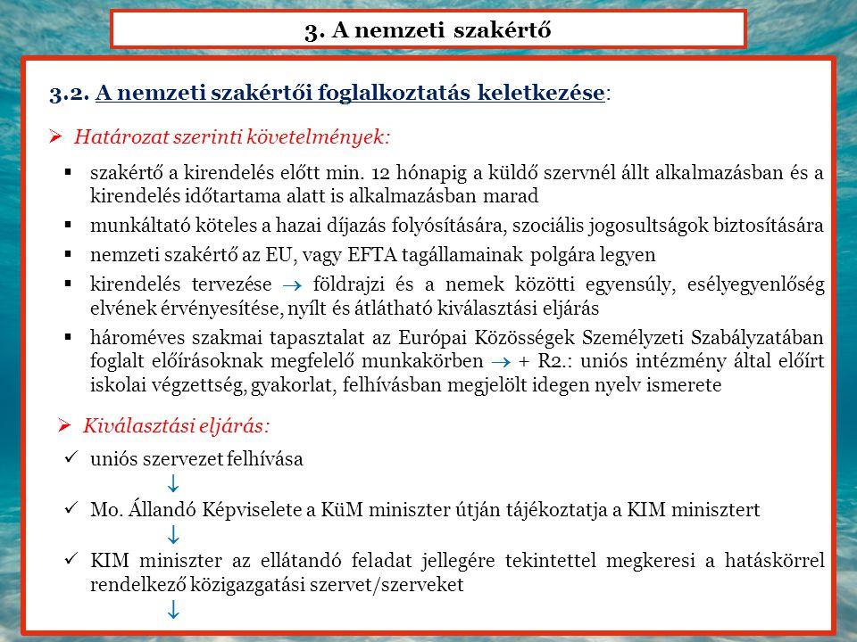 3. A nemzeti szakértő 3.2. A nemzeti szakértői foglalkoztatás keletkezése:  Határozat szerinti követelmények:  szakértő a kirendelés előtt min. 12 h