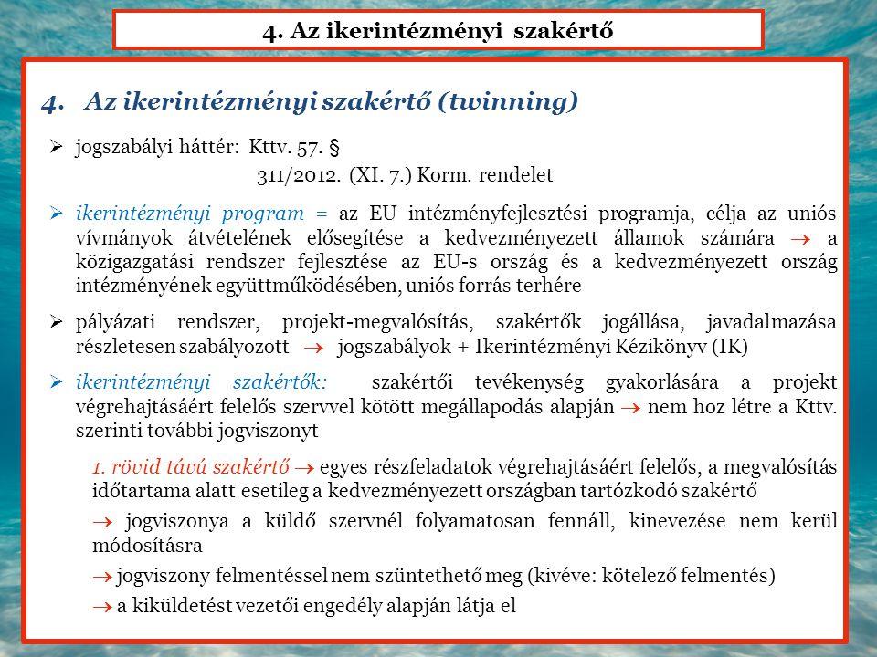 4. Az ikerintézményi szakértő 4.Az ikerintézményi szakértő (twinning)  jogszabályi háttér: Kttv. 57. § 311/2012. (XI. 7.) Korm. rendelet  ikerintézm