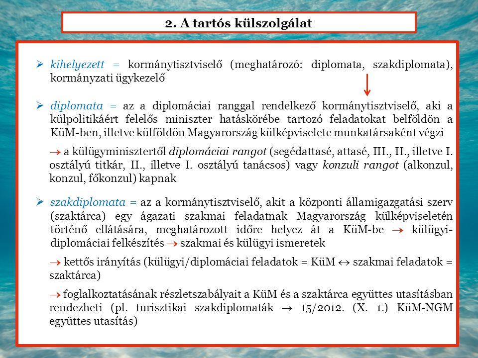 2. A tartós külszolgálat  kihelyezett = kormánytisztviselő (meghatározó: diplomata, szakdiplomata), kormányzati ügykezelő  diplomata = az a diplomác