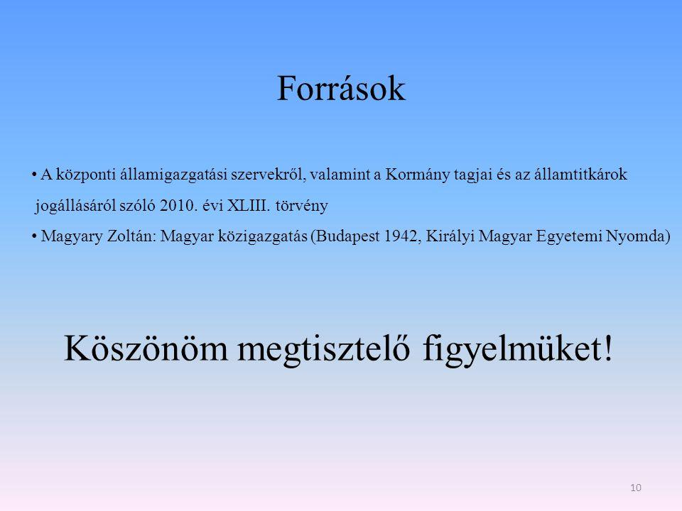 Források 10 A központi államigazgatási szervekről, valamint a Kormány tagjai és az államtitkárok jogállásáról szóló 2010. évi XLIII. törvény Magyary Z