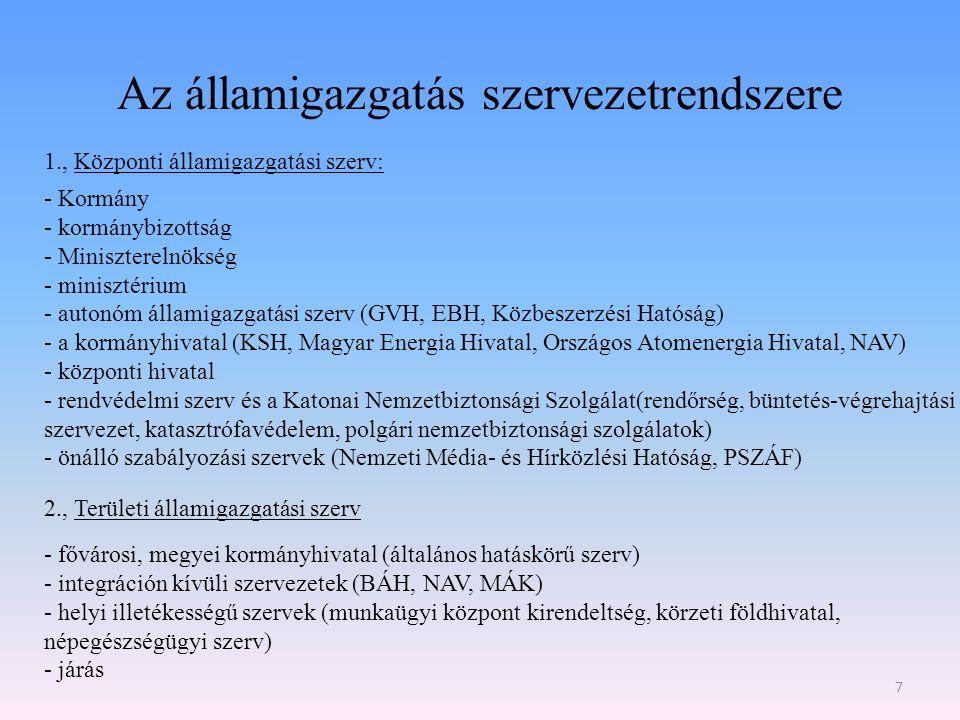 Az államigazgatás szervezetrendszere 7 1., Központi államigazgatási szerv: - Kormány - kormánybizottság - Miniszterelnökség - minisztérium - autonóm á