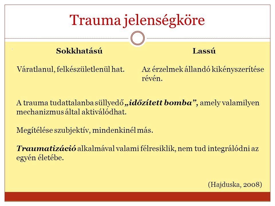 """Trauma jelenségköre a Sokkhatású Váratlanul, felkészületlenül hat. Lassú Az érzelmek állandó kikényszerítése révén. A trauma tudattalanba süllyedő """"id"""