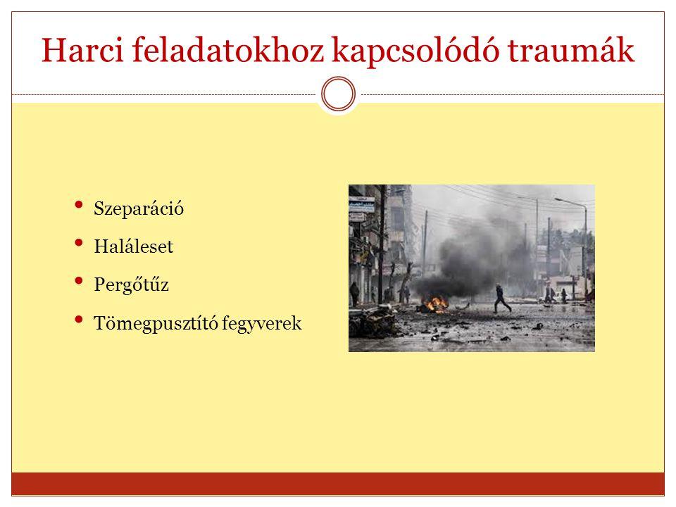 Harci feladatokhoz kapcsolódó traumák Szeparáció Haláleset Pergőtűz Tömegpusztító fegyverek