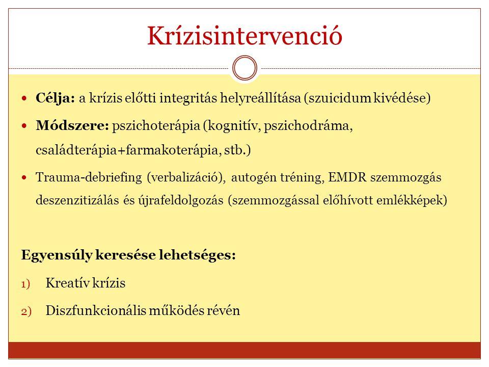 Krízisintervenció Célja: a krízis előtti integritás helyreállítása (szuicidum kivédése) Módszere: pszichoterápia (kognitív, pszichodráma, családterápi