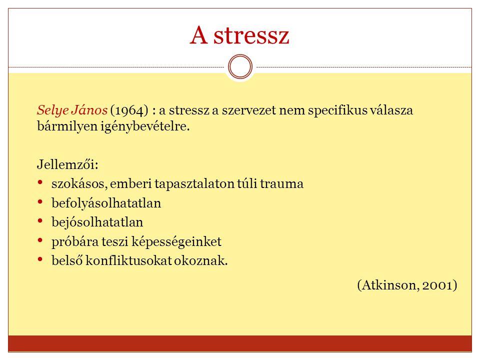 A stressz Selye János (1964) : a stressz a szervezet nem specifikus válasza bármilyen igénybevételre. Jellemzői: szokásos, emberi tapasztalaton túli t