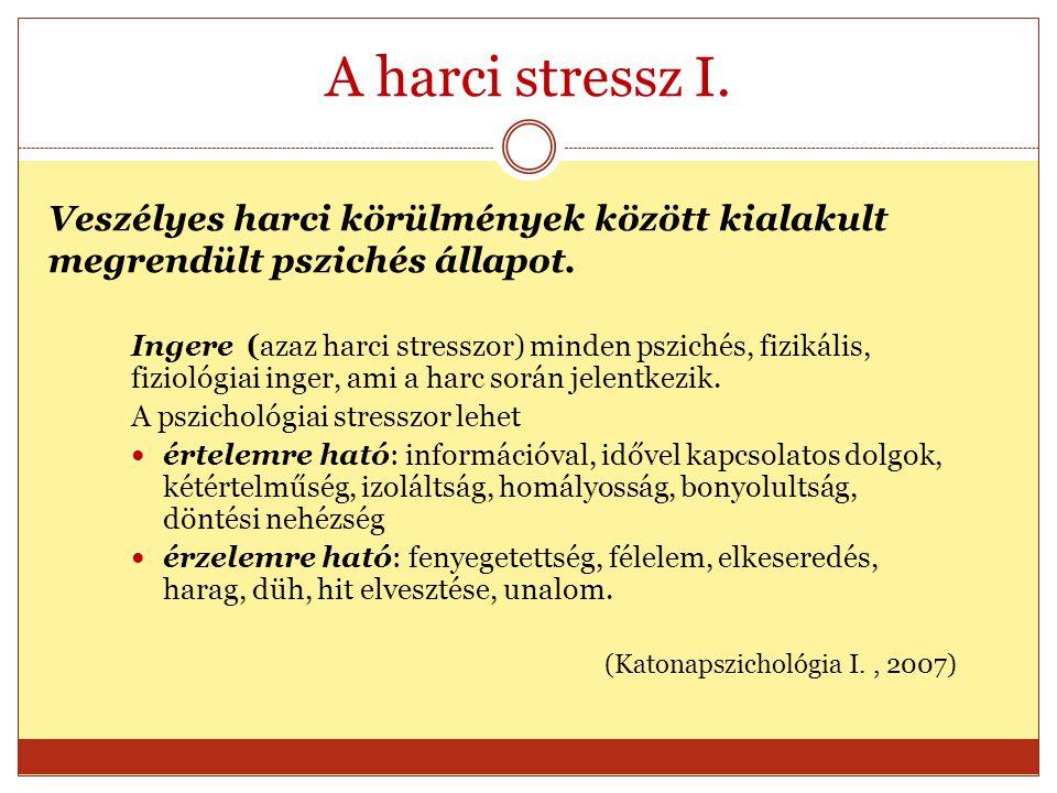 A harci stressz I. Ingere (azaz harci stresszor) minden pszichés, fizikális, fiziológiai inger, ami a harc során jelentkezik. A pszichológiai stresszo