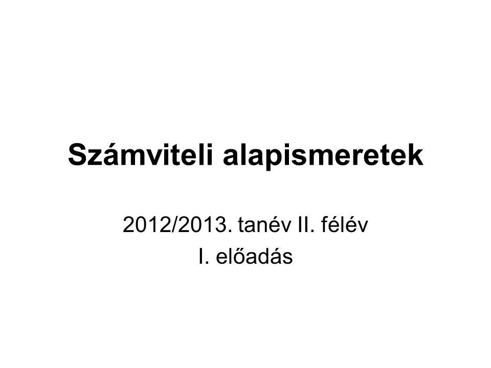 Számviteli alapismeretek 2012/2013. tanév II. félév I. előadás