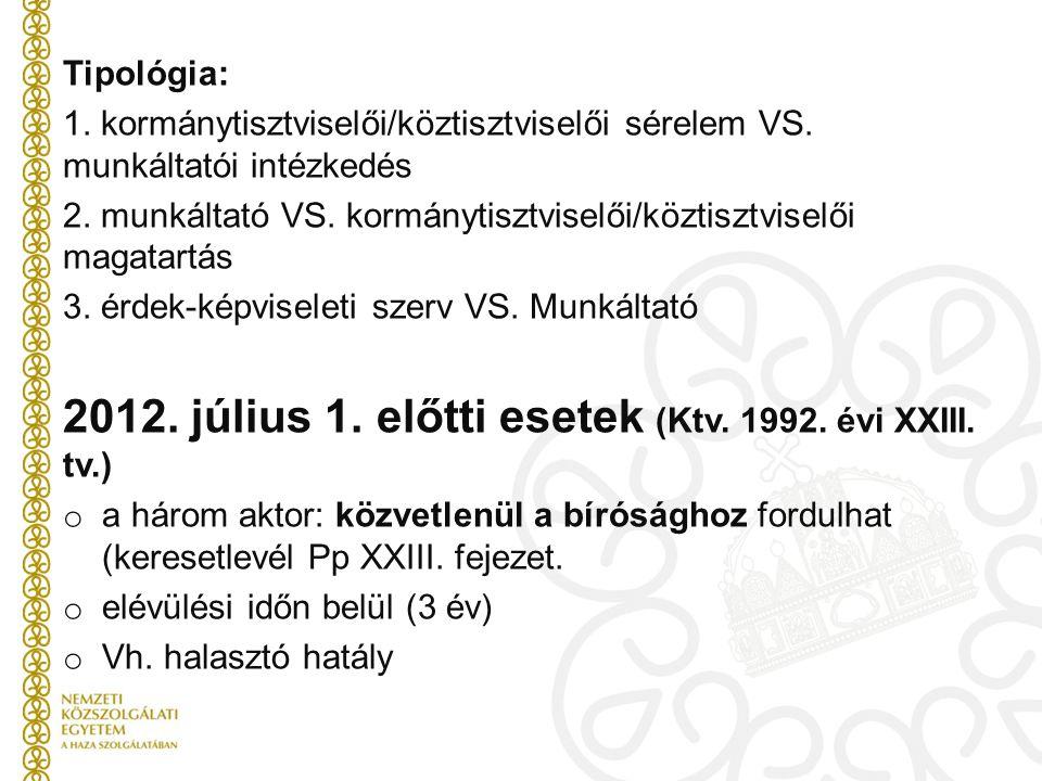 Tipológia: 1.kormánytisztviselői/köztisztviselői sérelem VS.